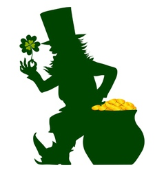sihouette of leprechaun vector image