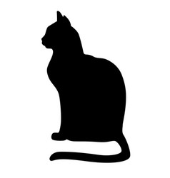 Silhouette a black cat sitting vector