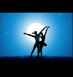 silhouette of a couple dancing ballet vector image
