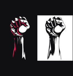 Silhouette raised fist hand clenched protest punch vector