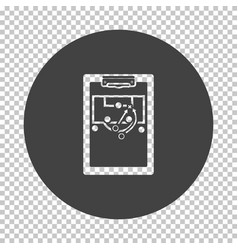 Soccer coach tablet with scheme game icon vector