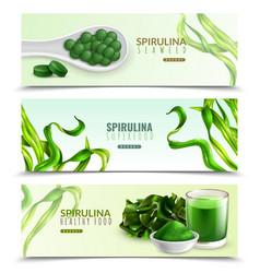 spirulina realistic horizontal banners vector image