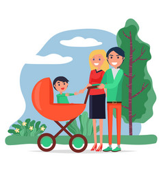 summer park and family walking with bacarriage vector image