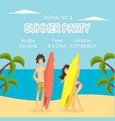 summer party banner template happy people vector image