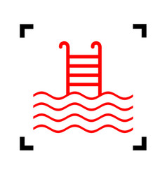 Swimming pool sign red icon inside black vector