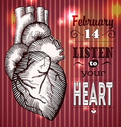 The human heart card Valentines Day vector