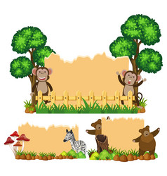 three background with animals in the park vector image