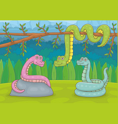 three snakes in nature vector image