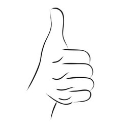 thumbs up line art vector image