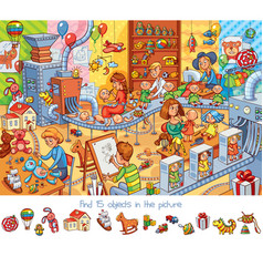 Toy factory find 15 objects in the picture vector