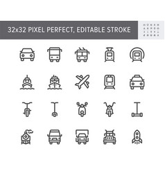 transport front view flat icons vector image