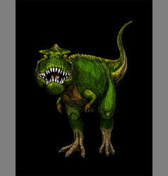 Tyrannosaurus rex full color sketch hand drawn vector