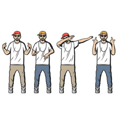 vintage colored rappers set vector image