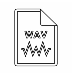 WAV audio file extension icon outline style vector