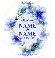 Wedding card with watercolor blue flowers vector