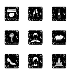 Wedding celebration icons set grunge style vector