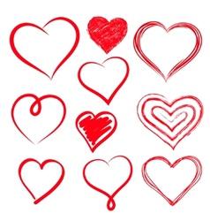 hearts set Hand drawn vector image