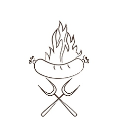 Hot sausage in flames vector image