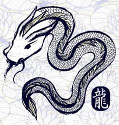Ink hand drawn dragon snake vector