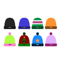 knitted color hat winter set fashion accessory vector image