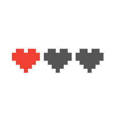 pixel art style retro game life hearts isolated vector image