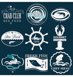 Set of vintage sea food logos logo templates and vector image