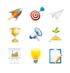 start up icon color set vector image