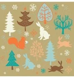 winter christmas forest vector image
