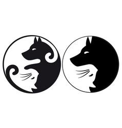 yin yang symbol cat and dog vector image vector image