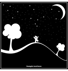 a child walking in the night vector image