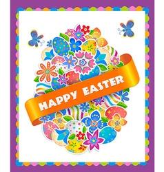 Easter Symbol Egg and Spring flower vector image
