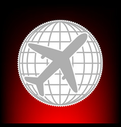 globe and plane travel vector image