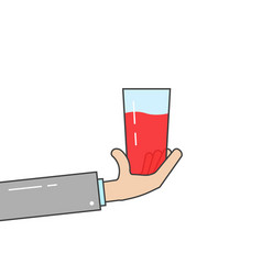 linear hand holding glass vector image