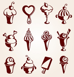 set of ice cream dessert vector image vector image