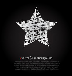 white drawn star on black background vector image