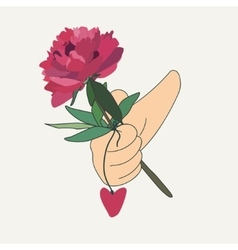 hand holding a red flower vector image vector image