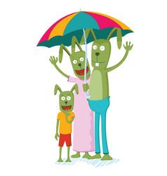 rabbit family on the rain vector image vector image