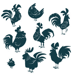 roosters and chickens cartoon set vector image vector image