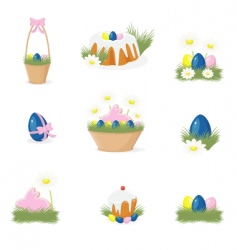 Easter icons set vector image vector image
