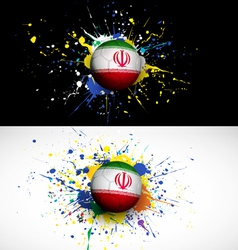 Iran flag with soccer ball dash on colorful vector image vector image