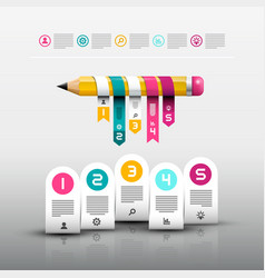 pencil with paper labels web design layout vector image vector image