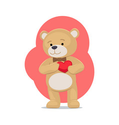 adorable teddy gently holds heart on chest bear vector image