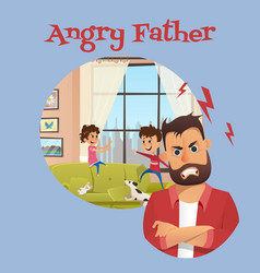 Angry father look after playing children banner vector