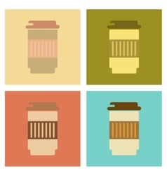 Assembly flat icons coffee to go caffeine vector