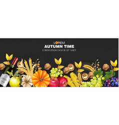 autumn harvest rich banner realistic vector image