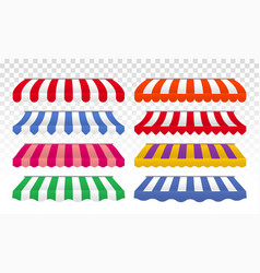 Awning tents color stripes isolated set vector
