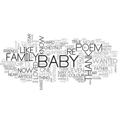 Baby shower poems from the heart text word cloud vector
