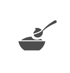 Baby spoon and bowl full of meal icon vector