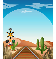 background scene with railroad in desert field vector image