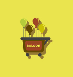Balloons sell cart in sticker style vector